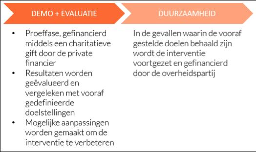 Opsomming van de twee fases waarin de sociale ondernemer de interventie levert